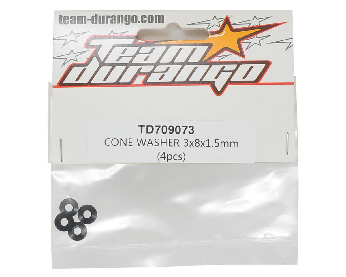 Team Durango 3x8x1.5mm Cone Washer (4)