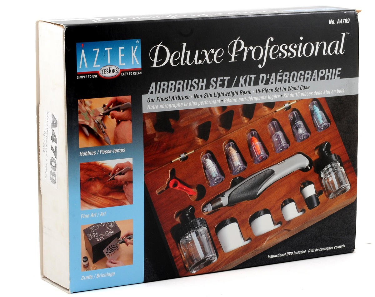 Testors Aztek A470 Deluxe Resin Airbrush Set w/Wood Case