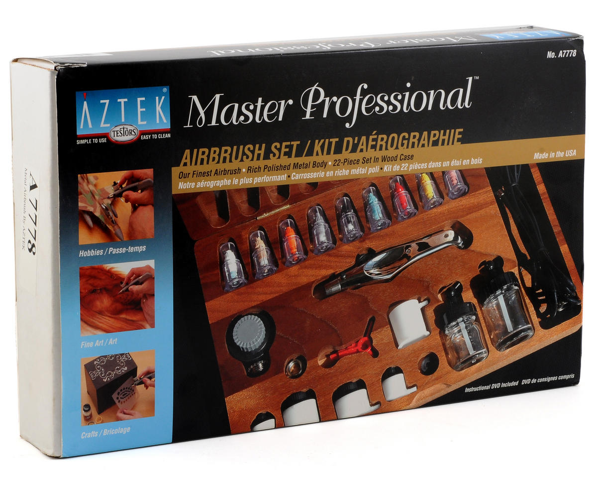 Testors Aztek A7778 Ultimate Metal Airbrush Kit w/Wood Case