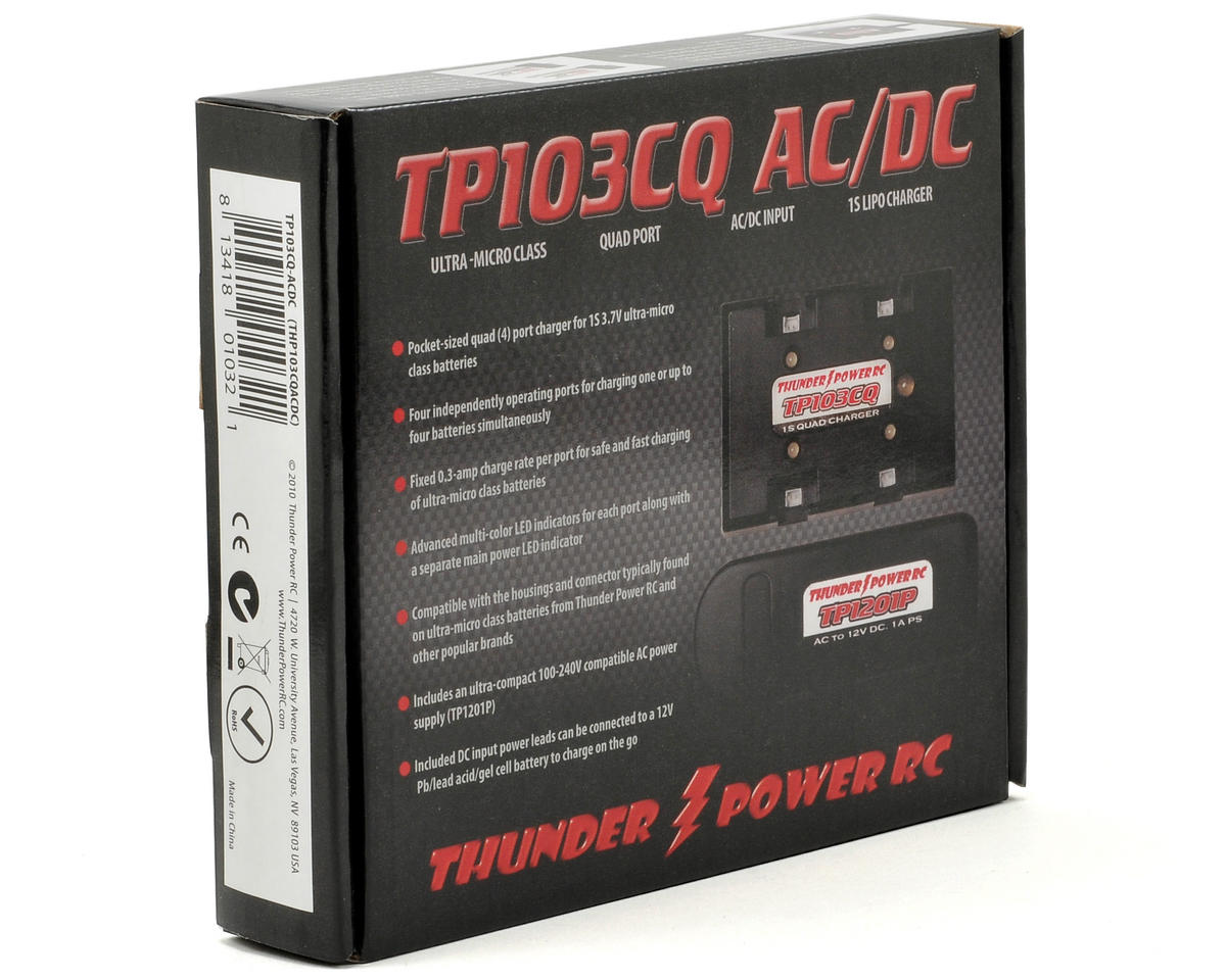 Thunder Power TP103CQ-AC/DC 1S LiPo Quad/4-Port 12V AC/DC Charger