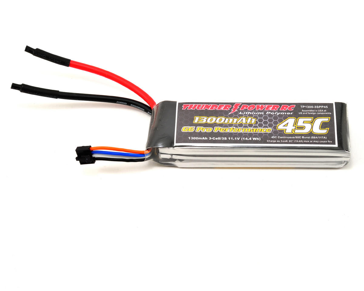 "Thunder Power Pro Performance ""G6"" 3S Li-Poly Battery 45C (11.1V/1300mAh)"
