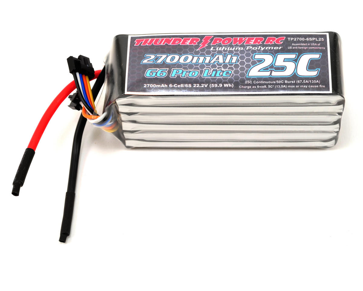 "Thunder Power Pro Lite ""G6"" 6S Li-Poly Battery 25C (22.2V/2700mAh)"