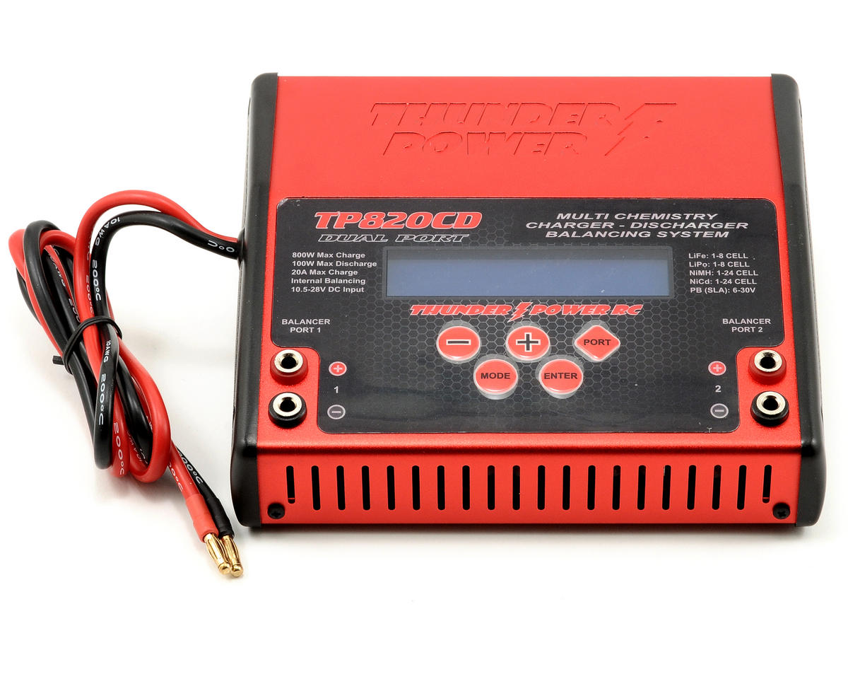 SCRATCH & DENT: Thunder Power TP820CD DC 1-8 Cell LiPo 20A Dual Port Charger w/Balancer