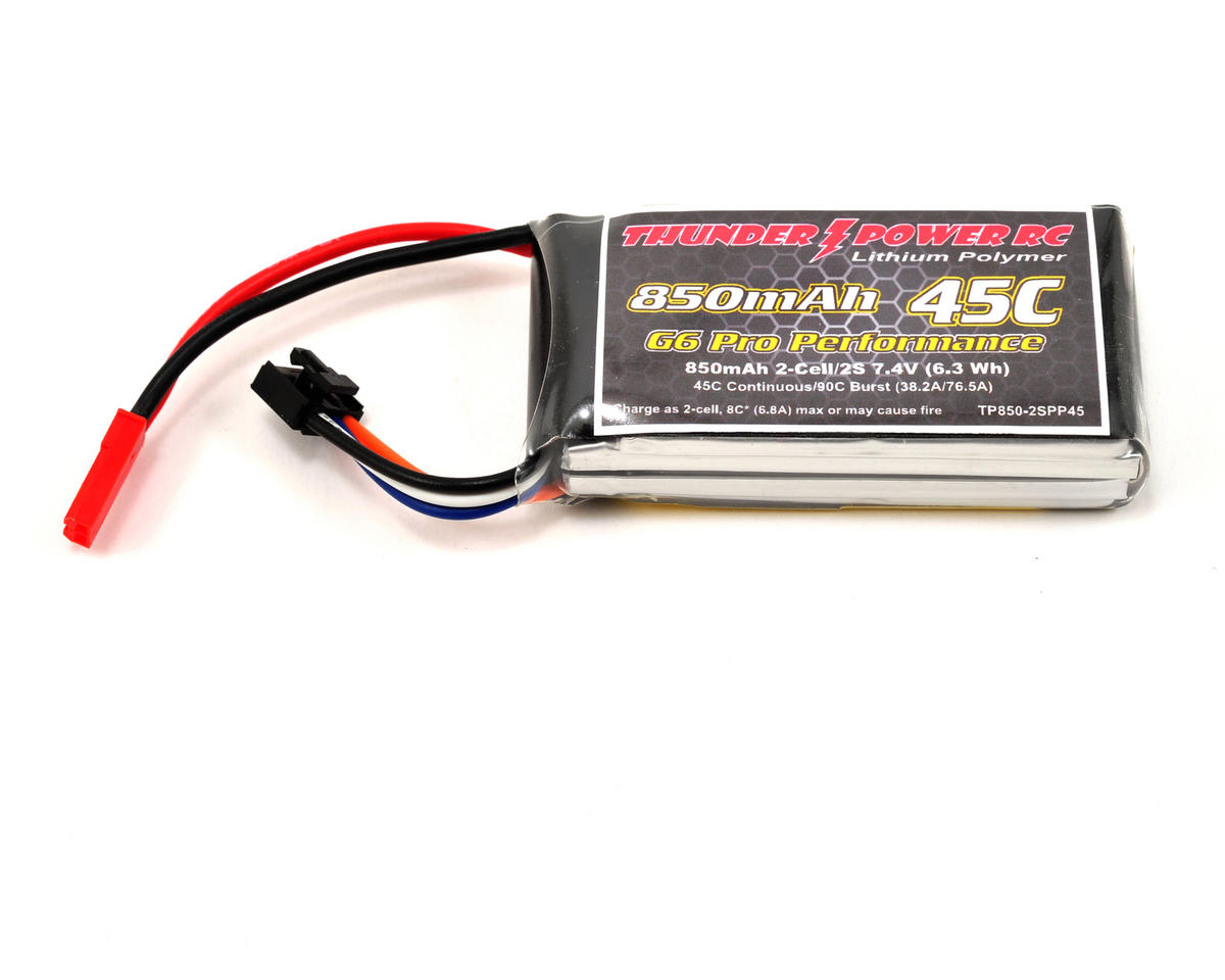 "Thunder Power Pro Performance ""G6"" 2S Li-Poly Battery 45C (7.4V/850mAh)"