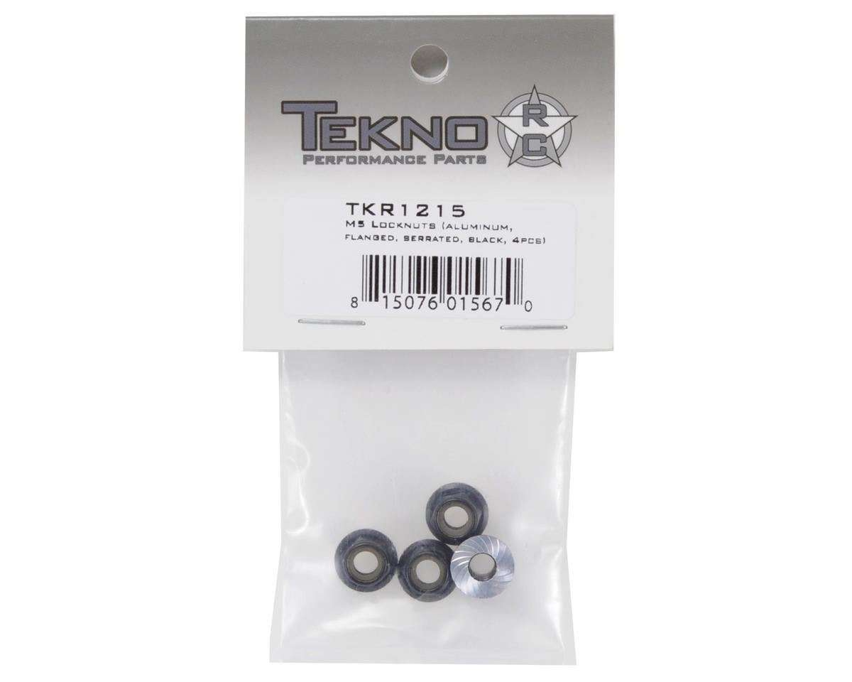 M5 Aluminum Serrated Flanged Locknut (Black) (4) by Tekno RC