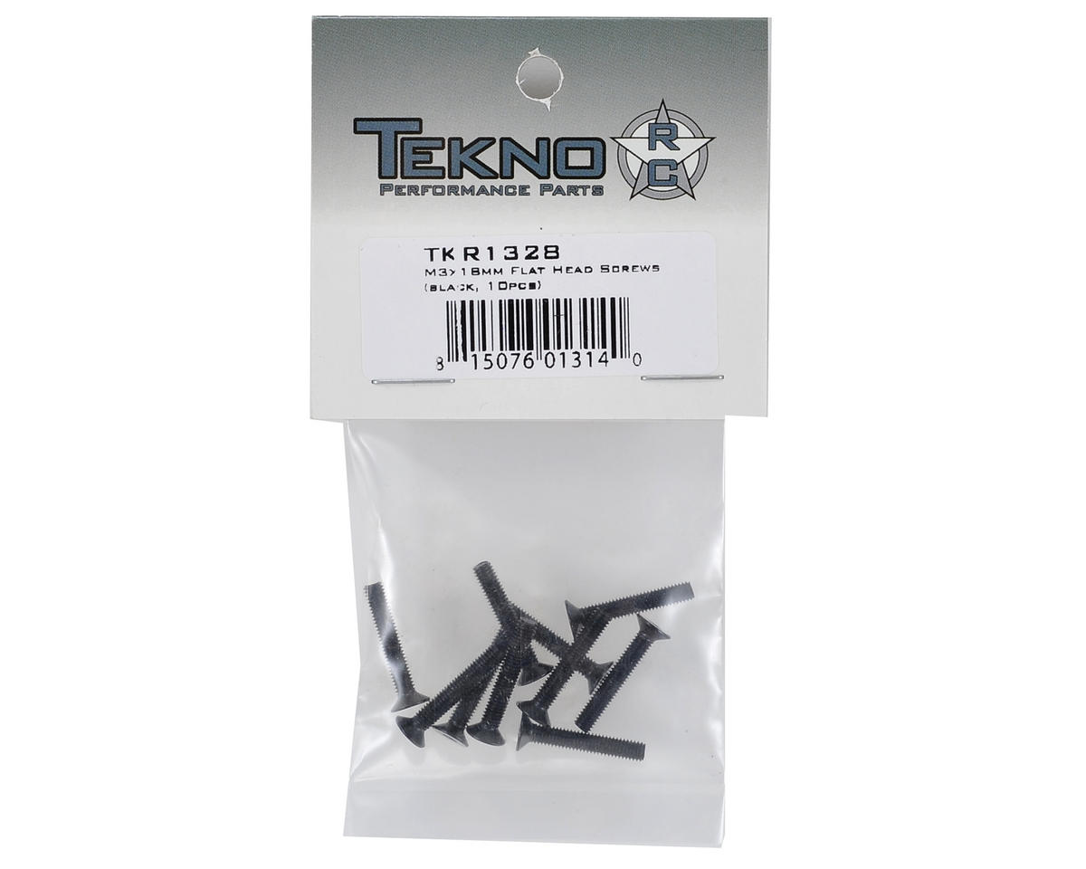3x18mm Flat Head Screw (Black) (10) by Tekno RC