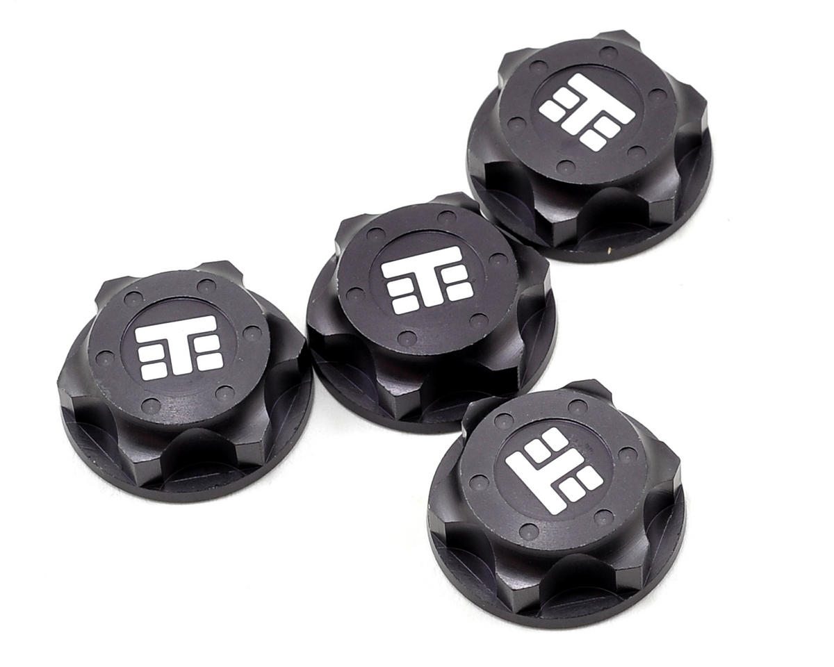 "17mm Aluminum ""T Logo"" Covered Serrated Wheel Nut (Gun Metal) (4) by Tekno RC"