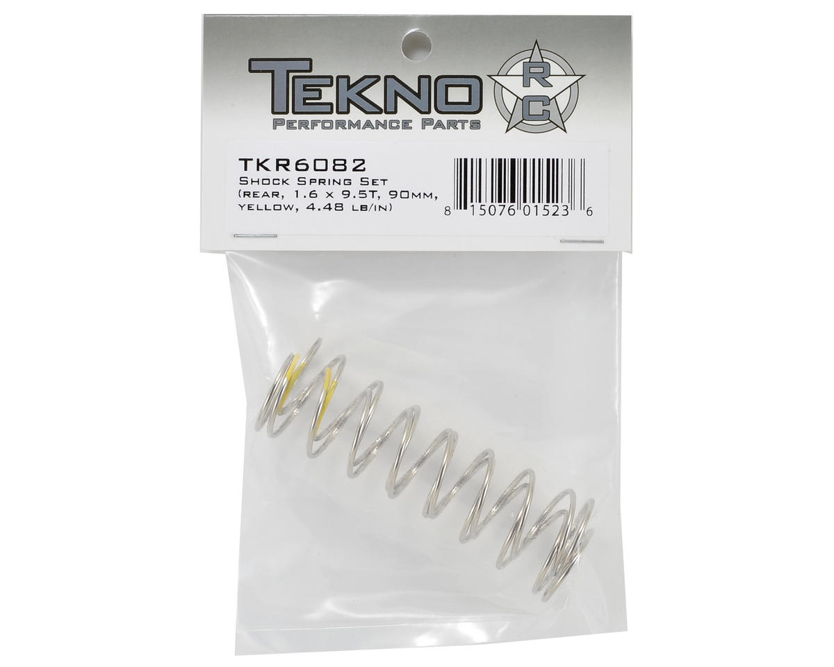 95mm Rear Shock Spring Set (Yellow) (1.6 x 9.5T) (2) by Tekno RC