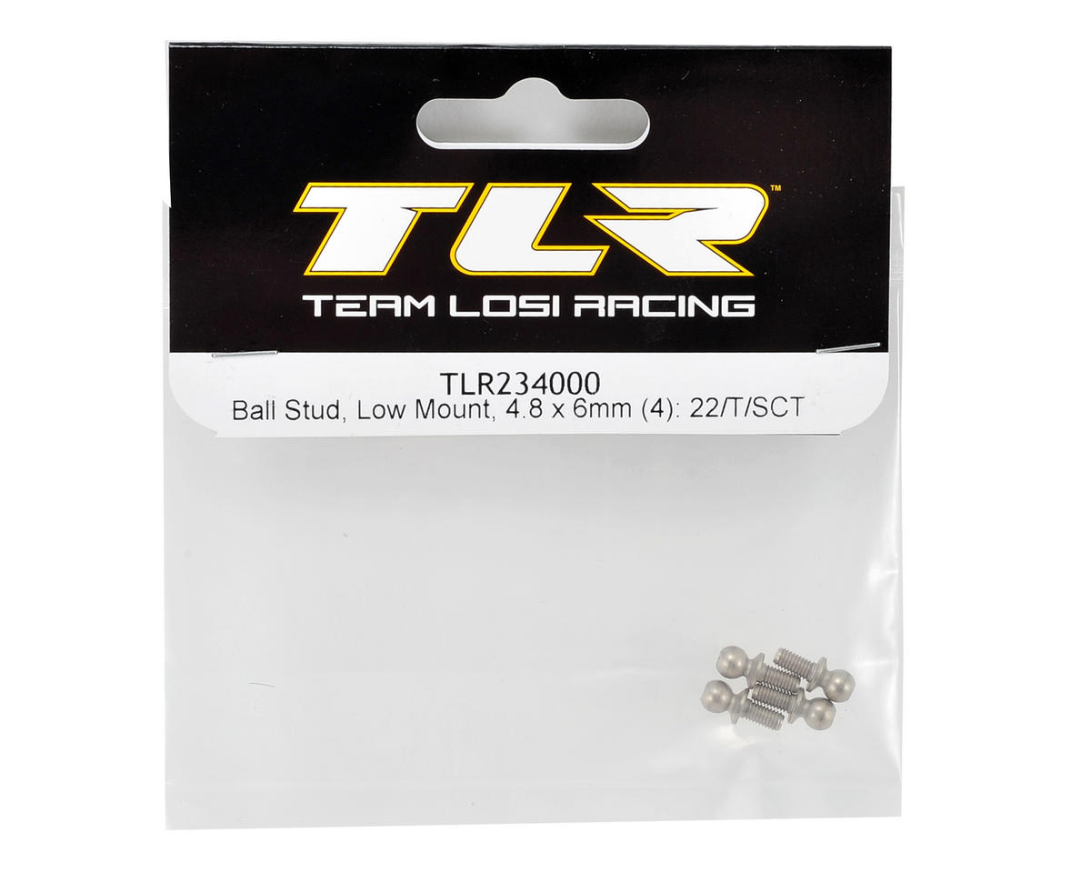 Team Losi Racing 4.8x6mm Low Mount Ball Stud Set (4)