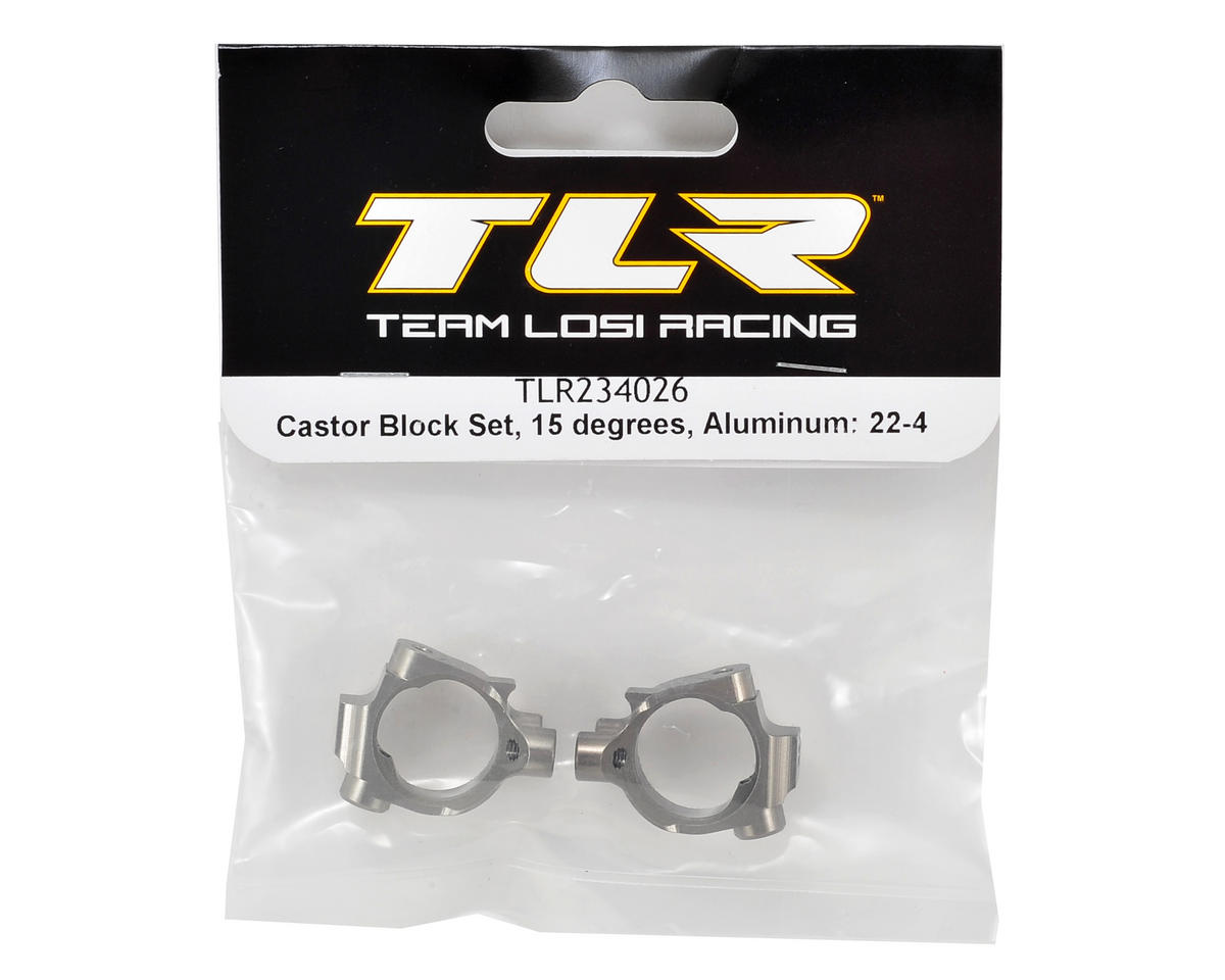 Team Losi Racing 22-4 Aluminum 15° Caster Block Set