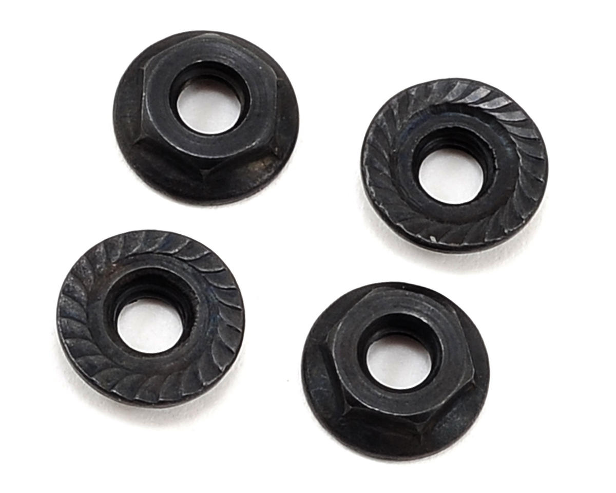 22-4 4mm Low Profile Serrated Nuts (4) by Team Losi Racing