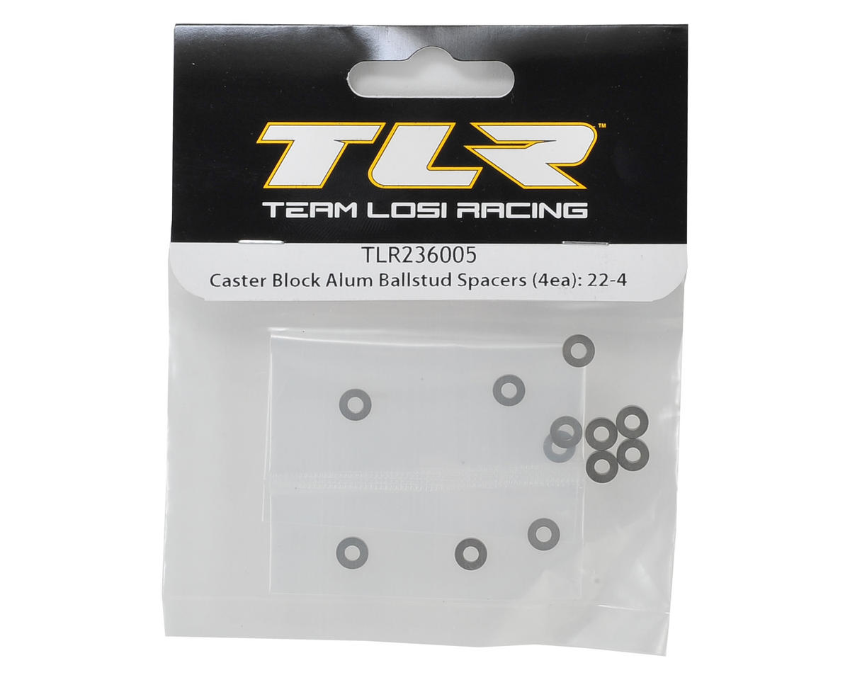 22-4 Aluminum Caster Block Ball Stud Spacer Set by Team Losi Racing