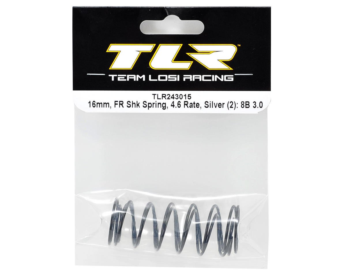 Team Losi Racing 16mm Front Shock Spring Set (Silver - 4.6 Rate) (2)