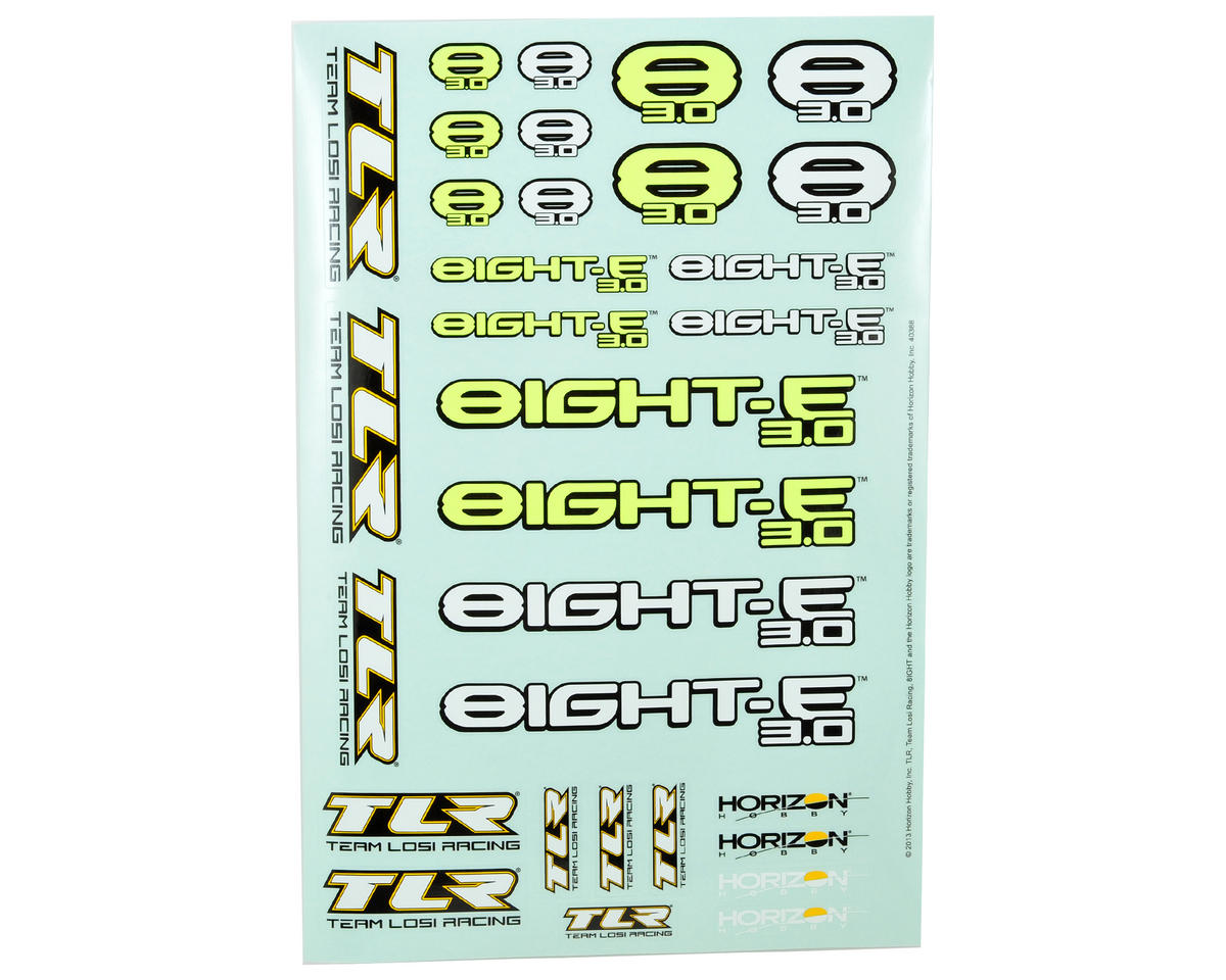Team Losi Racing 8IGHT-E 3.0 Sticker Sheet