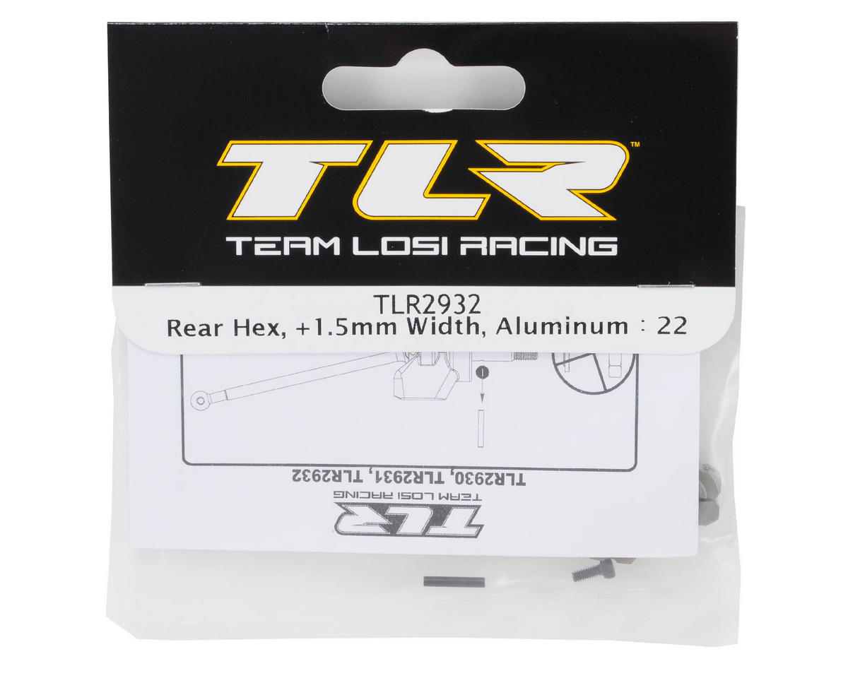 Team Losi Racing 12mm Aluminum Rear Hex Set (+1.5mm Width) (TLR 22)