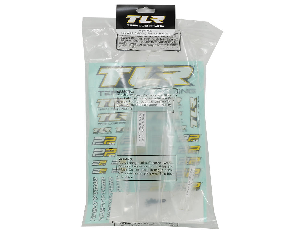 Team Losi Racing 22 3.0 Lighweight Body & Wing Set (Clear)
