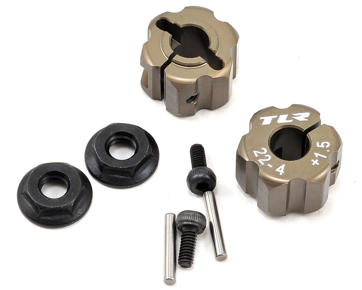 22-4 Aluminum Rear Hex Set (+1.5mm) by Team Losi Racing