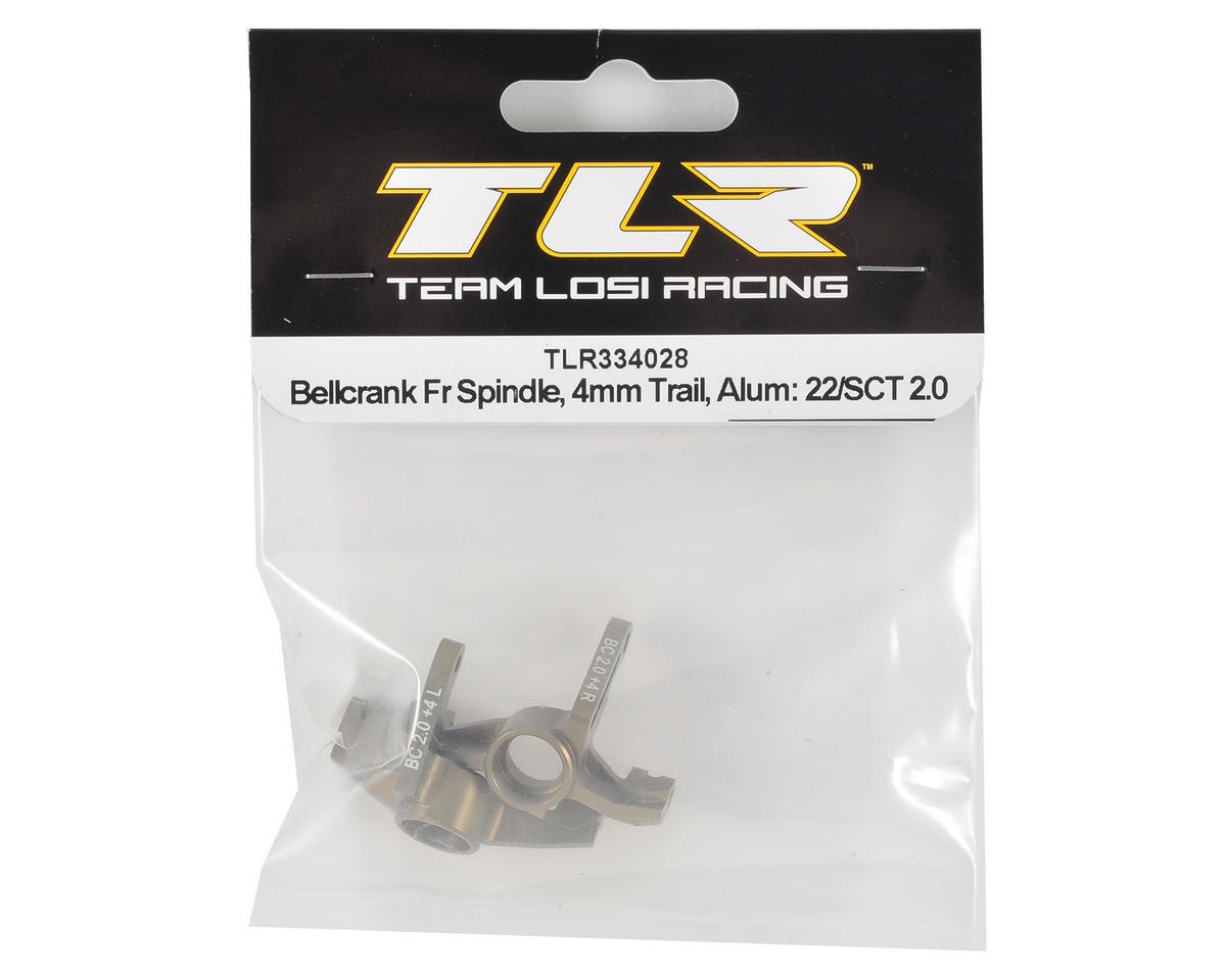 Team Losi Racing Aluminum 22 3.0 4mm Trailing Front Spindle Set (Bellcrank Only)