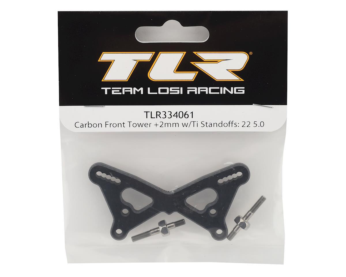 Team Losi Racing 22 5.0 +2mm Carbon Front Tower w/Titanium Standoffs