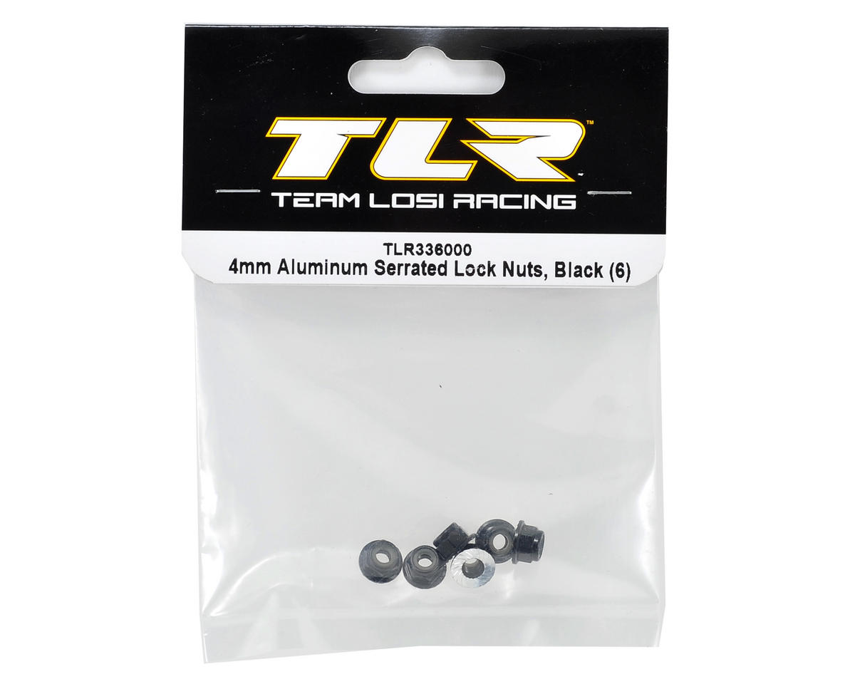 Team Losi Racing 4mm Aluminum Serrated Locknut Set (6) (Black)