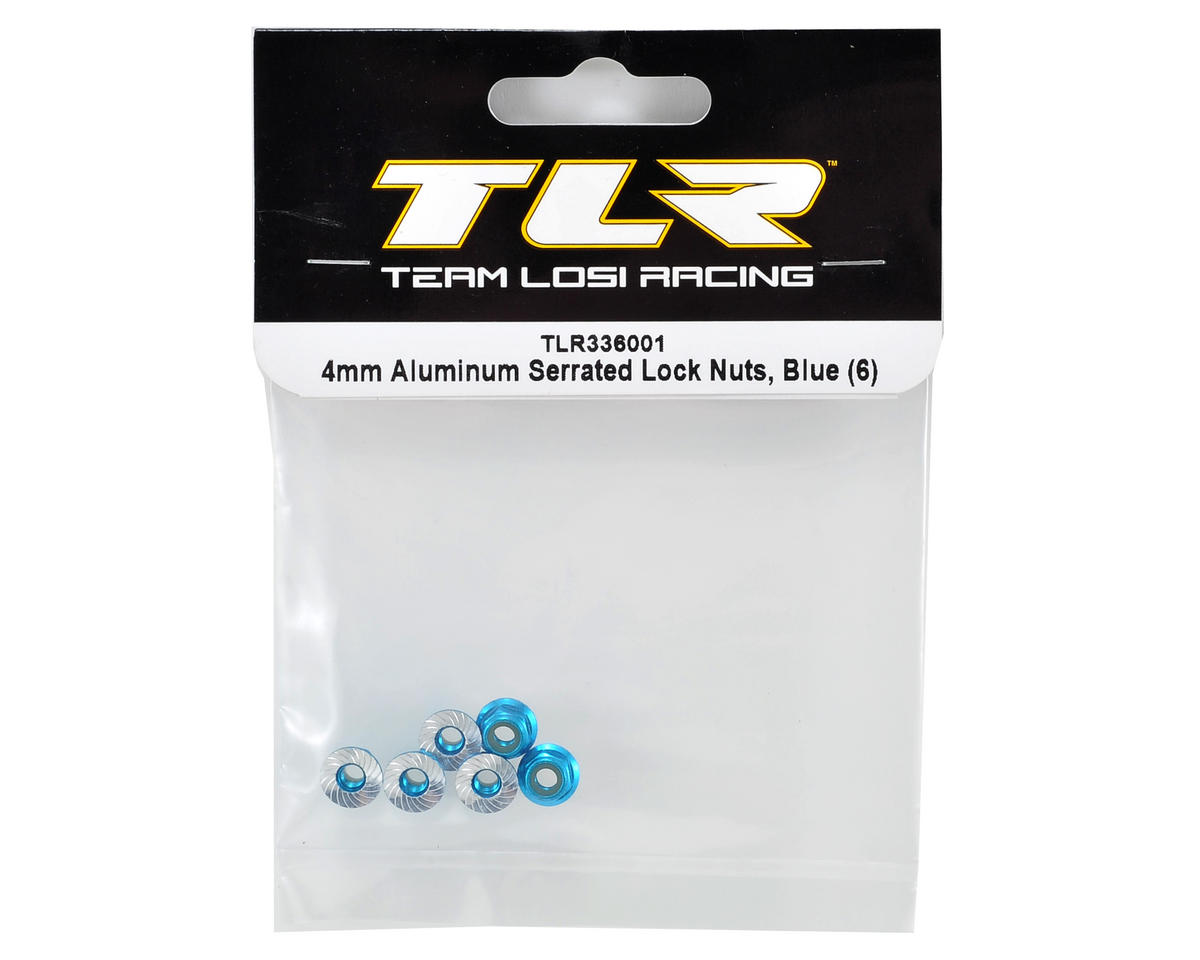 Team Losi Racing 4mm Aluminum Serrated Locknut Set (6) (Blue)