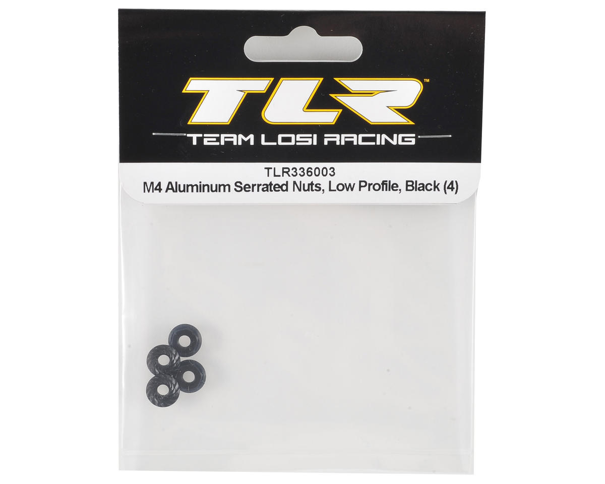 Team Losi Racing 4mm Low Profile Aluminum Serrated Locknut Set (4) (Black)