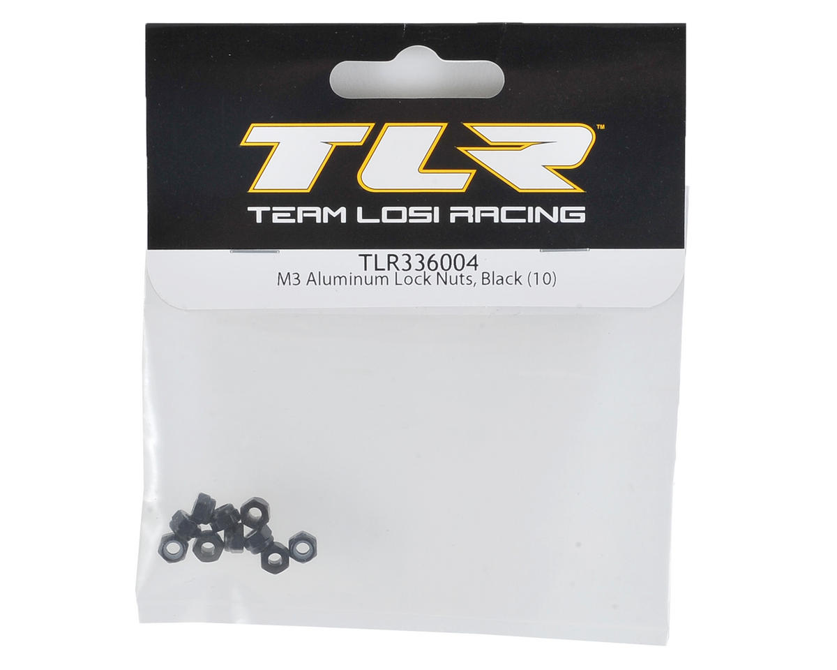 Team Losi Racing 3mm Aluminum Locknuts (10) (Black)