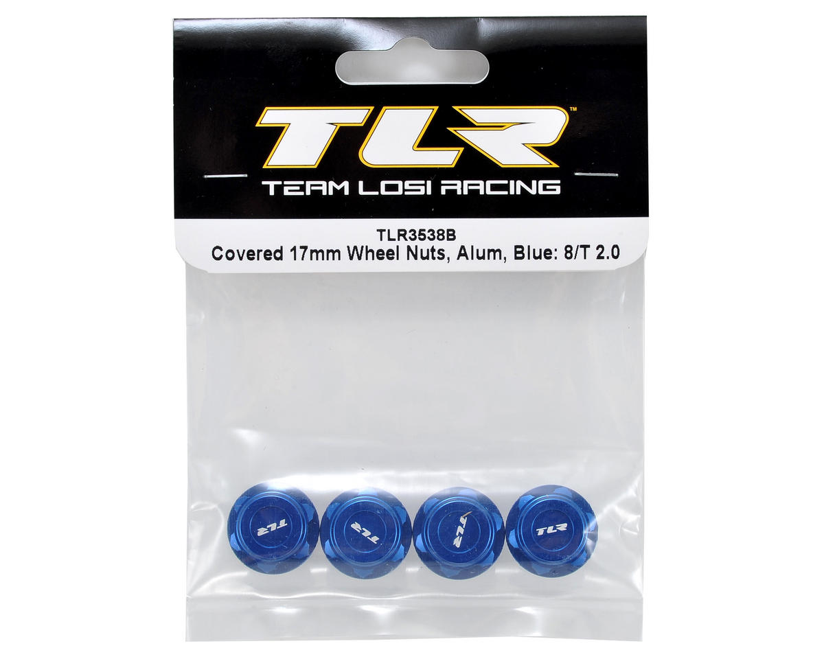 Team Losi Racing Aluminum Covered 17mm Wheel Nuts (Blue) (4)