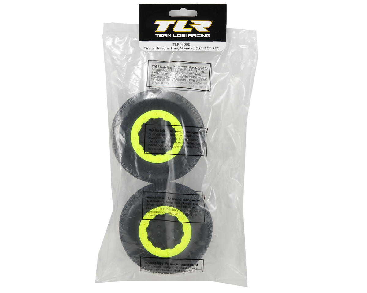 Team Losi Racing Pre-Mounted Short Course Tire (2) (22SCT RTC) (Black/Yellow)