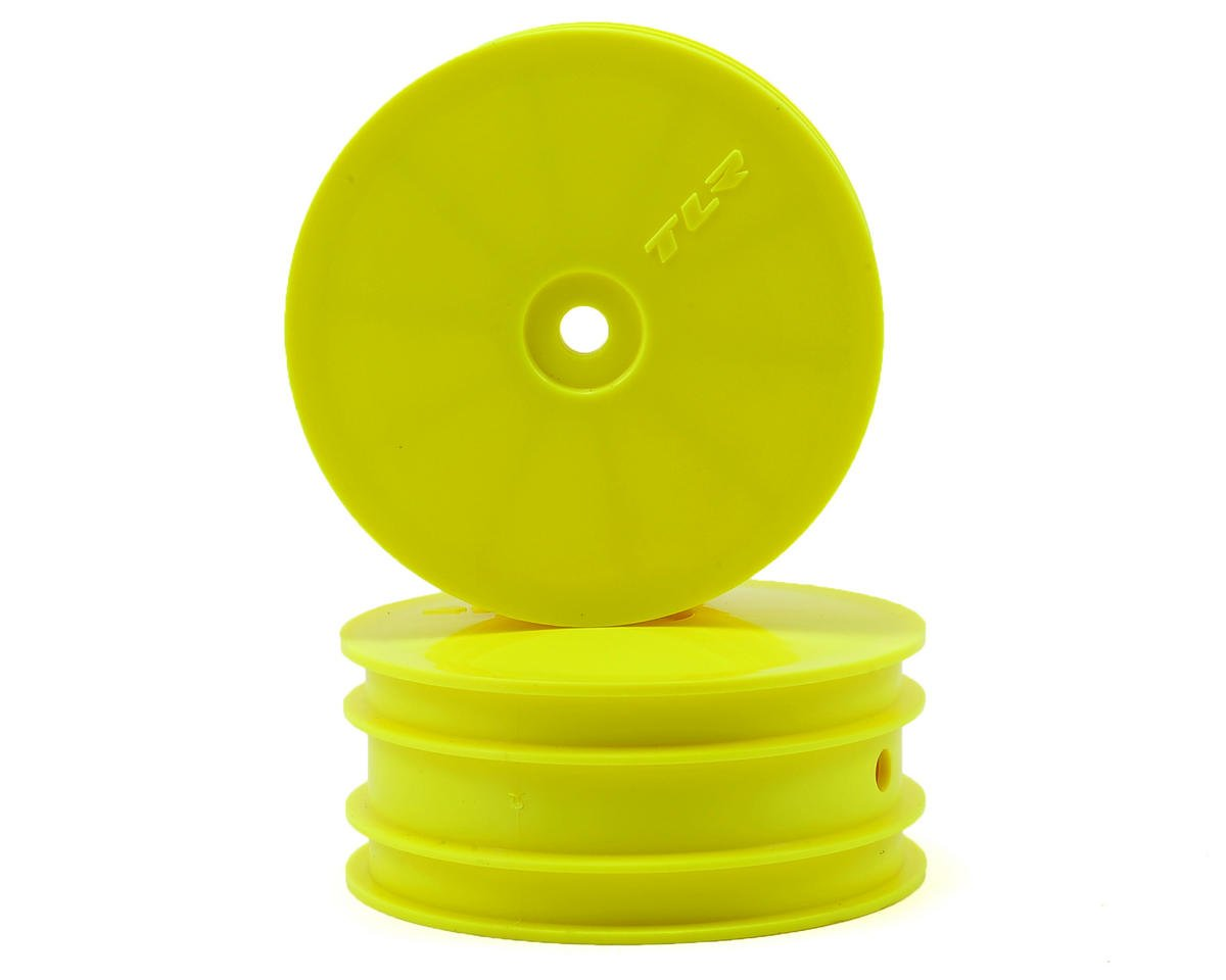 12mm Hex 1/10 4WD Front Buggy Wheels (2) (Yellow) (22-4) by Team Losi Racing