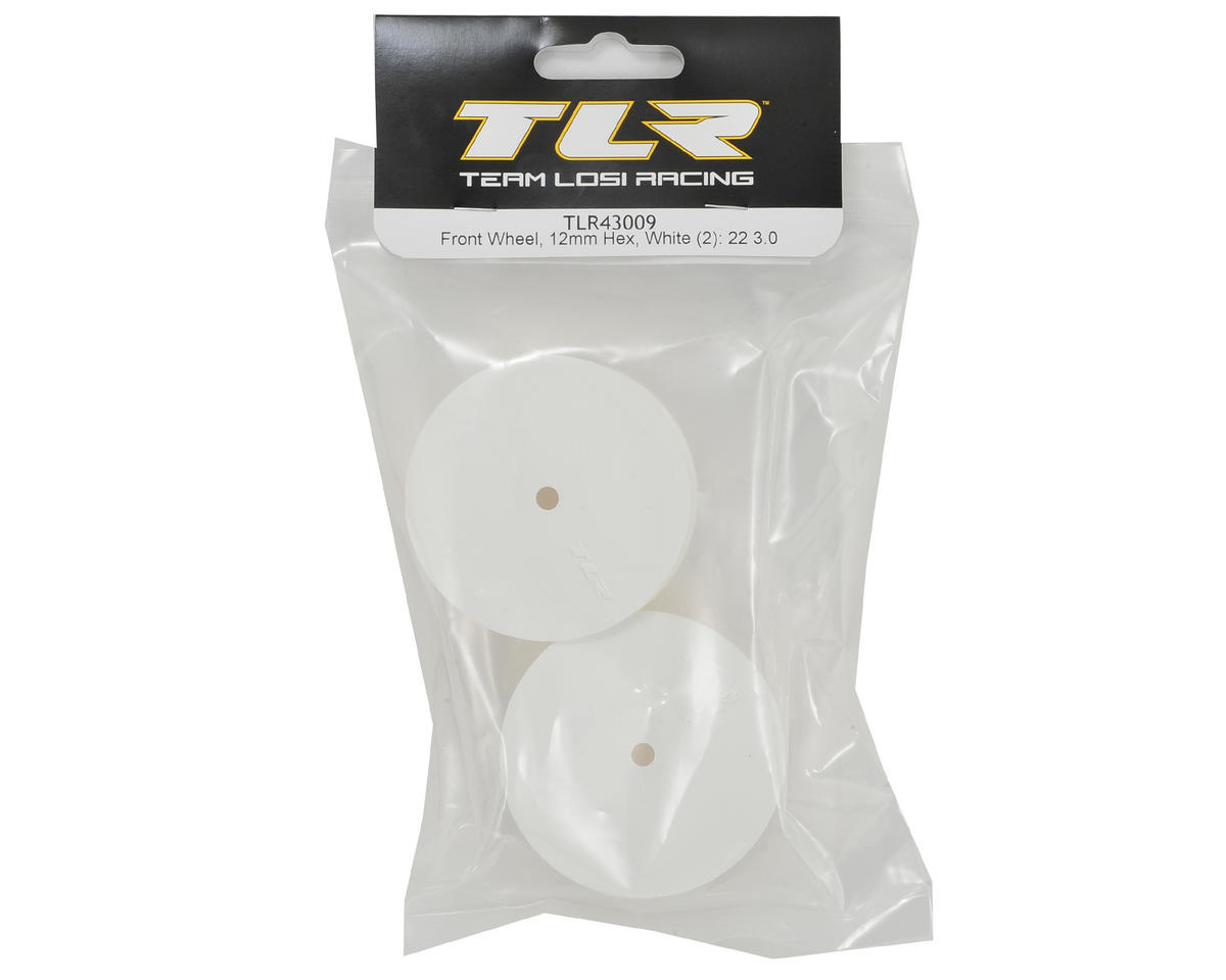 Team Losi Racing 12mm Hex 22 3.0 Front 1/10 Buggy Wheels (2) (22 3.0) (White)