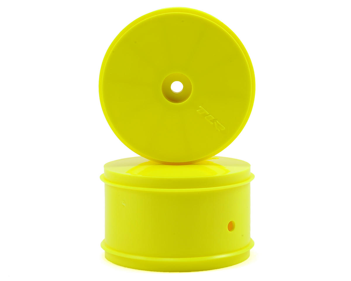 Team Losi Racing 12mm Hex 61mm 1/10 Rear Buggy Wheels (Yellow) (2) (22 3.0/22-4)