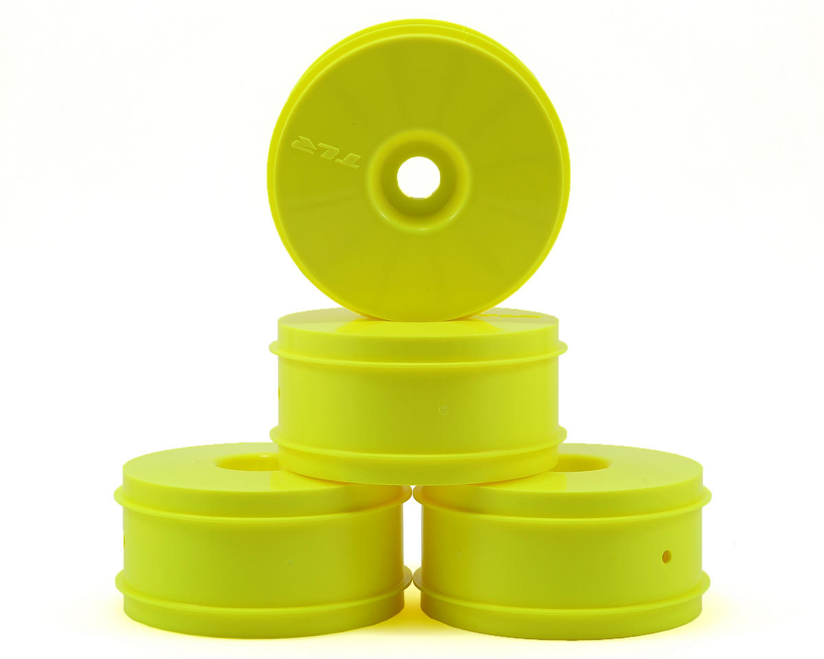 "SCRATCH & DENT: Team Losi Racing ""Dome"" 1/8 Buggy Dish Wheel (4) (Yellow)"