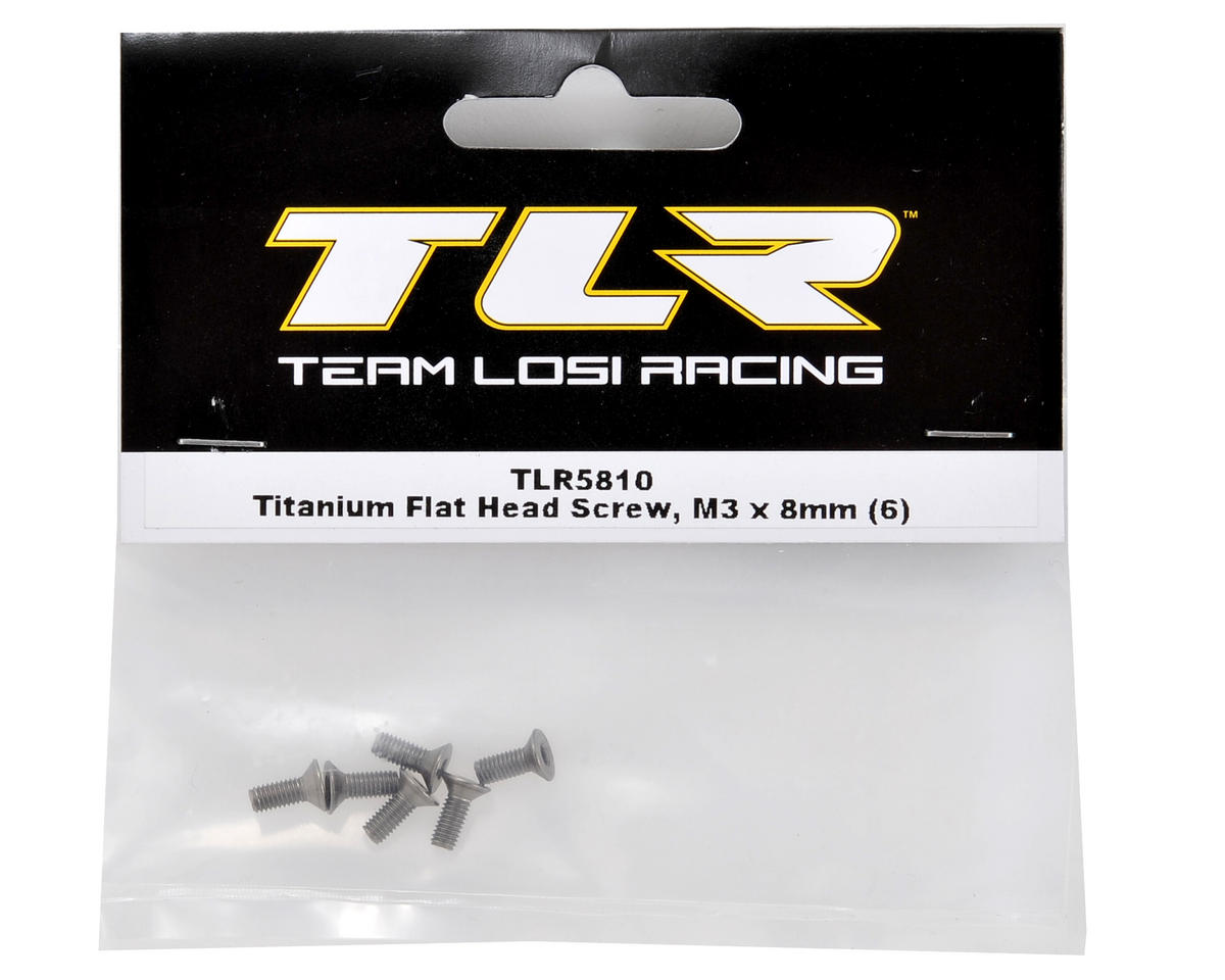 Team Losi Racing Titanium 3x8mm Flat Head Screw (6)