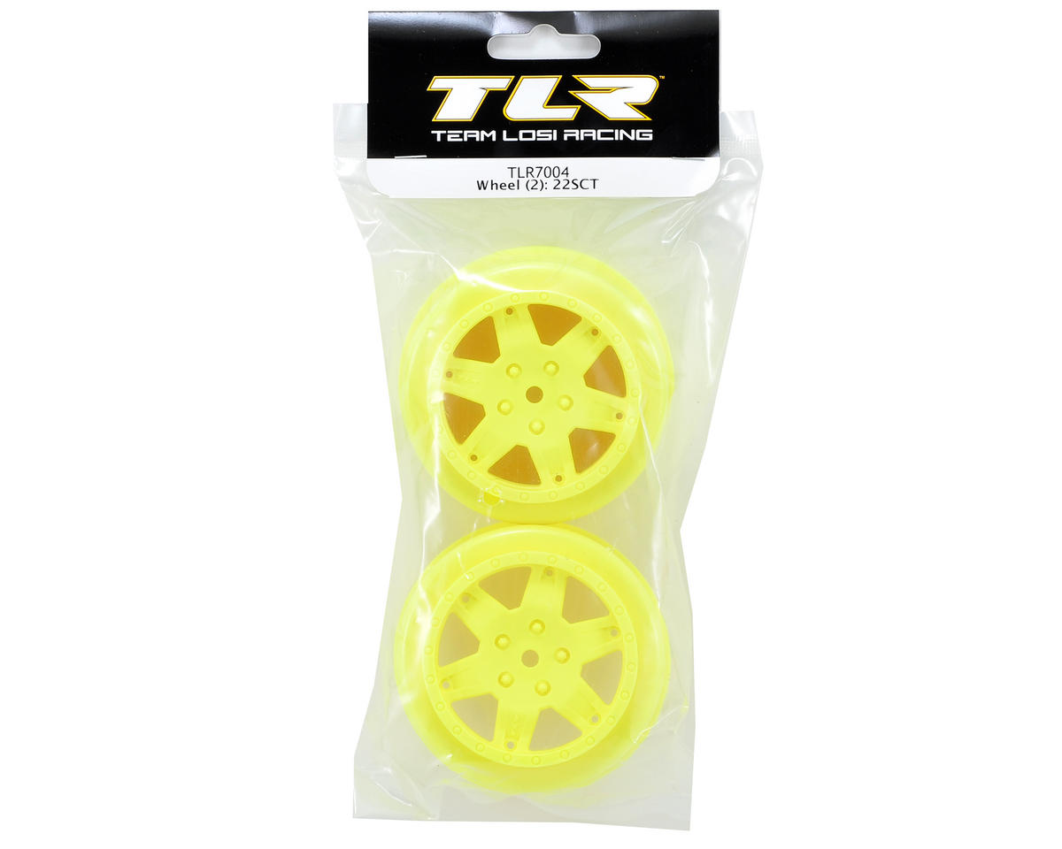 Team Losi Racing 12mm Hex Short Course Wheels (Yellow) (2) (22SCT/TEN-SCTE)