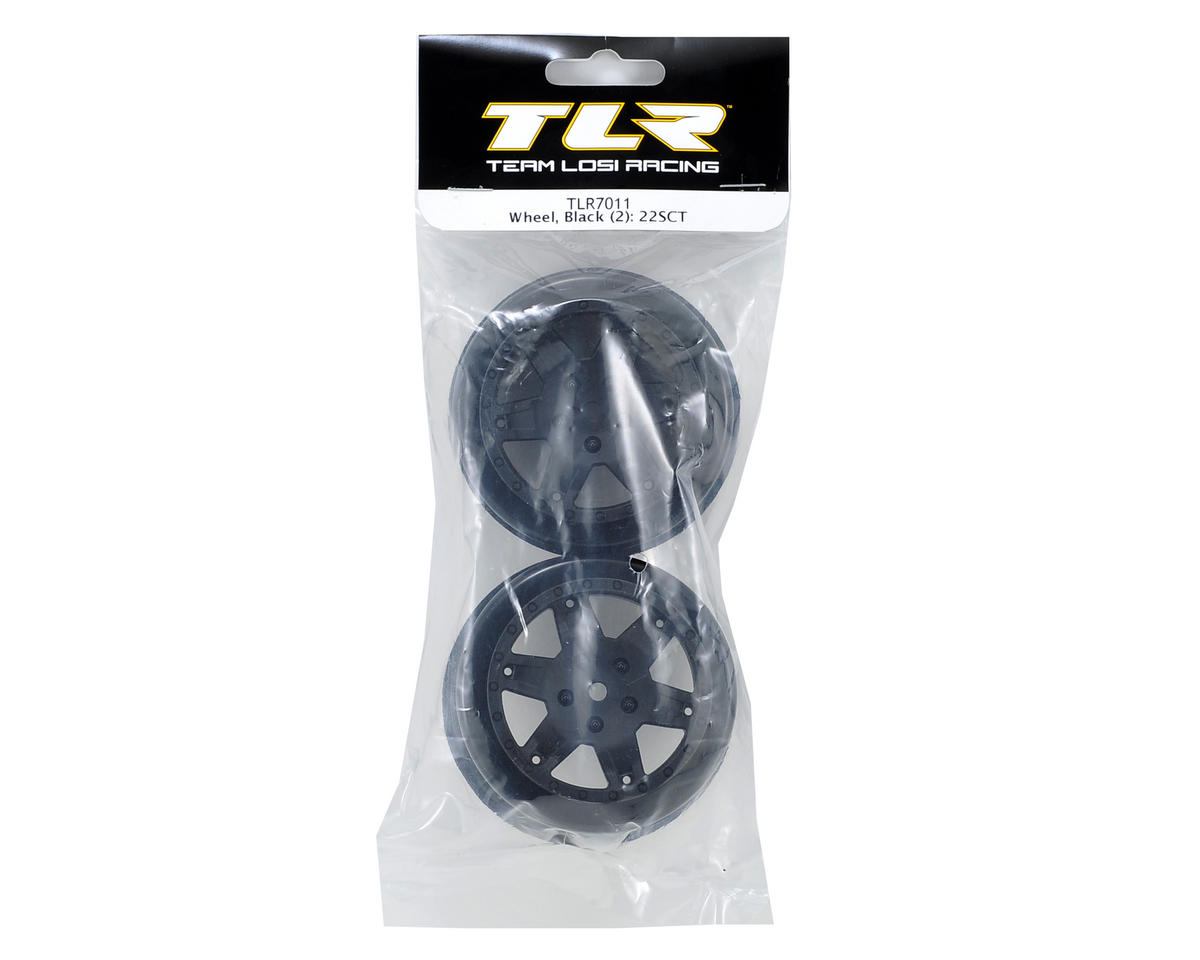 Team Losi Racing 12mm Hex Short Course Wheels (Black) (2) (22SCT/TEN-SCTE)