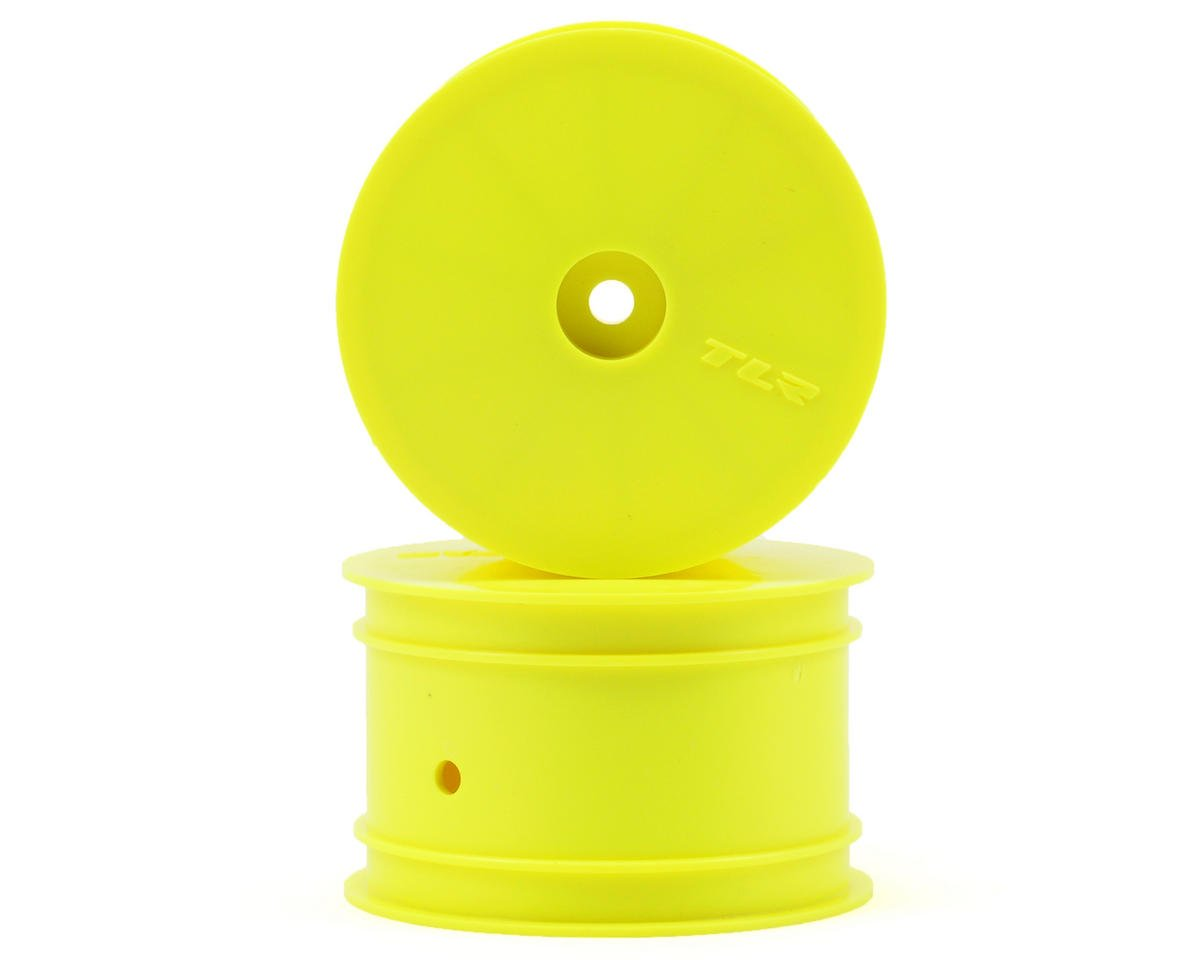 Team Losi 22 3.0 SPEC-Racer Racing 12mm Hex 1/10 Rear Buggy Wheels (Yellow) (2) (22 3.0/22-4)