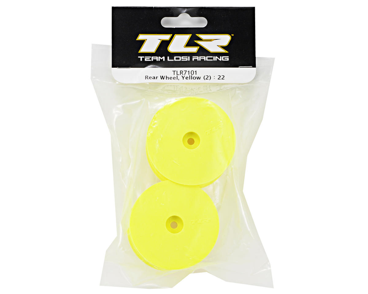Team Losi Racing 12mm Hex 1/10 Rear Buggy Wheels (Yellow) (2) (22 3.0/22-4)