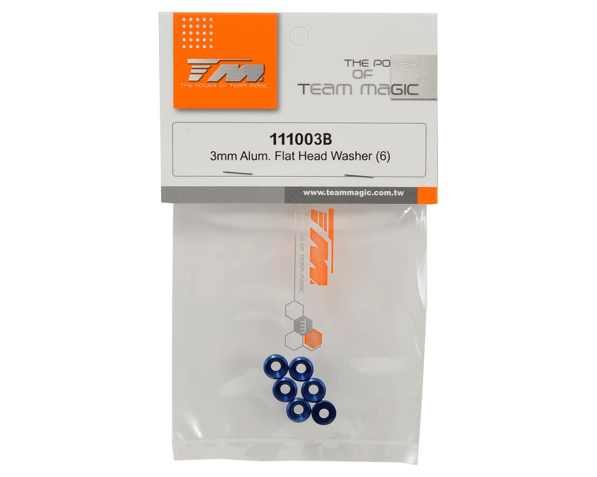 Team Magic 3mm Aluminum Flat Head Washer Set (Blue) (6)
