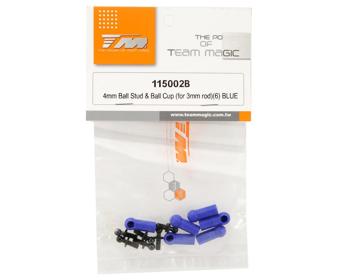 Team Magic 4mm Ball Stud & Ball Cup Set (Blue) (6)