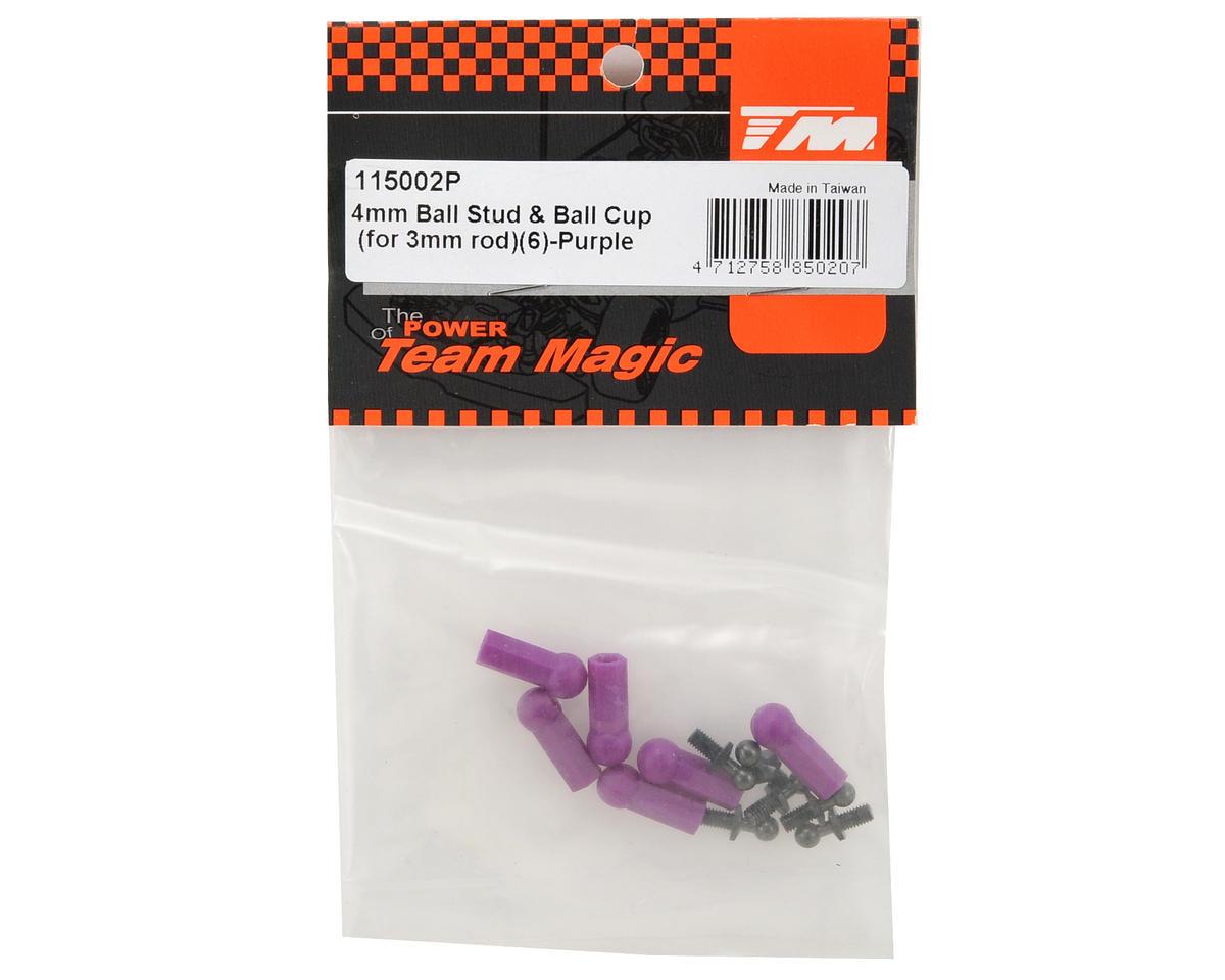 Team Magic 4mm Ball Stud & Ball Cup Set (Purple) (6)