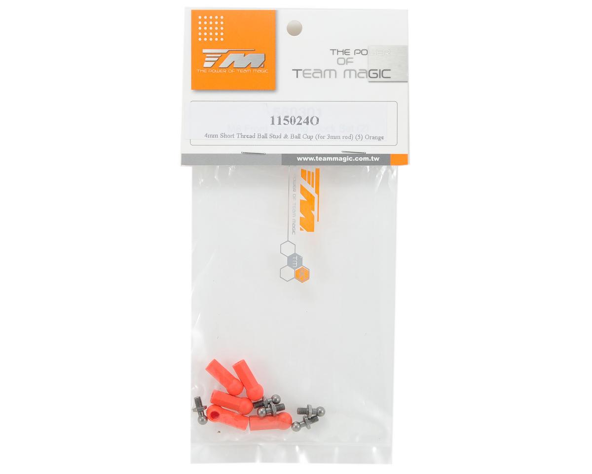 Team Magic 4mm Short Ball Stud & Ball Cup Set (Orange)