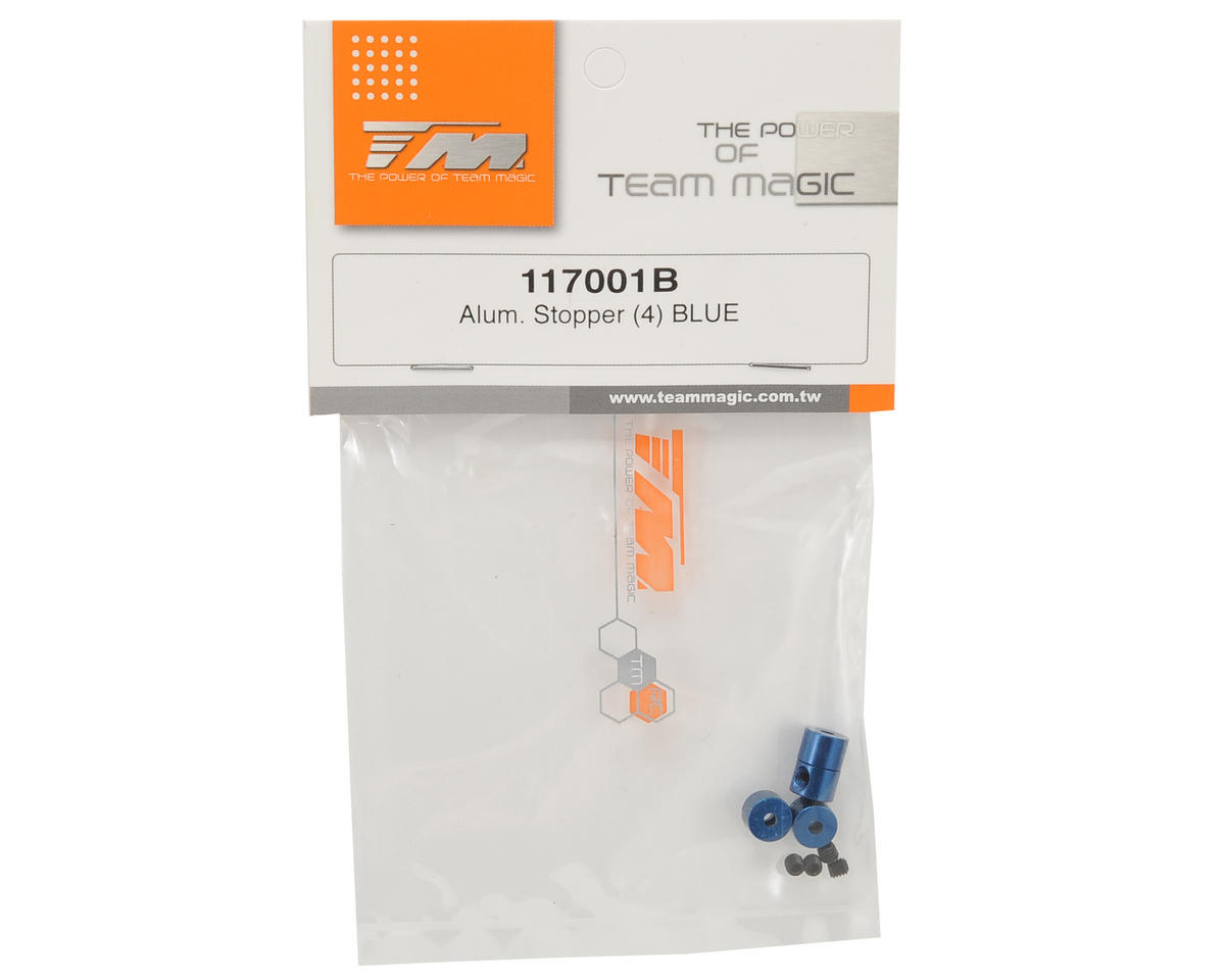 Team Magic Aluminum Stopper Set (Blue) (4)