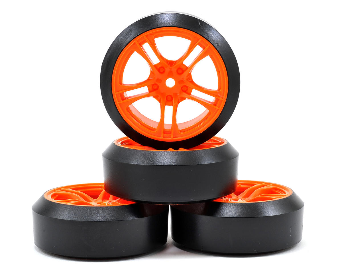 Team Magic E4D 5-Spoke Mounted Drift Tires (Orange) (4) (45 Degree)