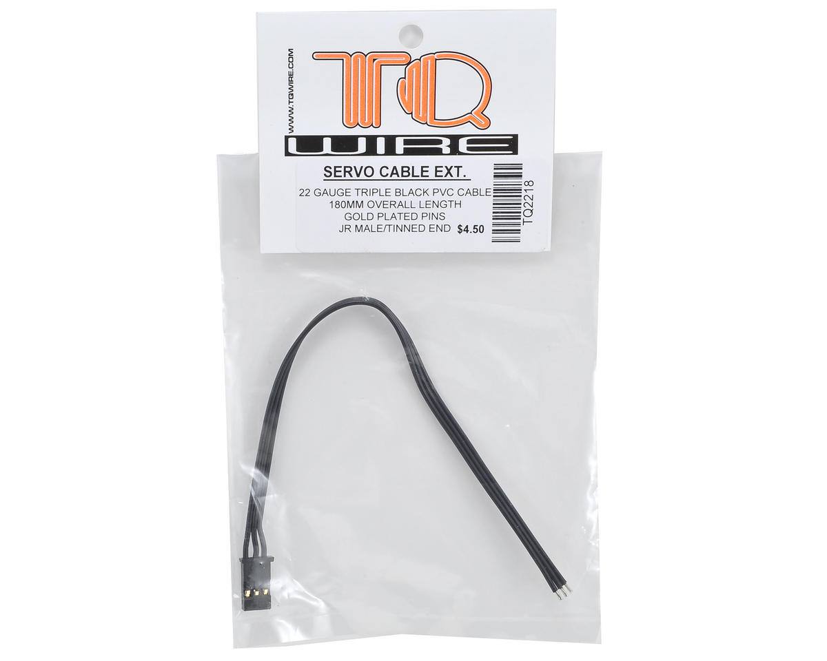 TQ Wire Tripple Black JR Servo Extension (180mm)