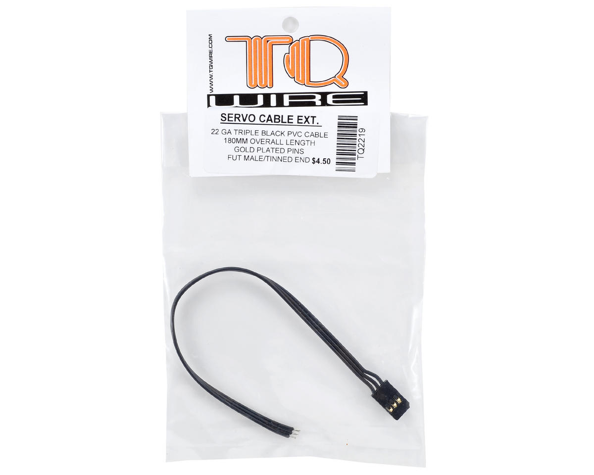 TQ Wire Triple Black Futaba Servo Extension (180mm)