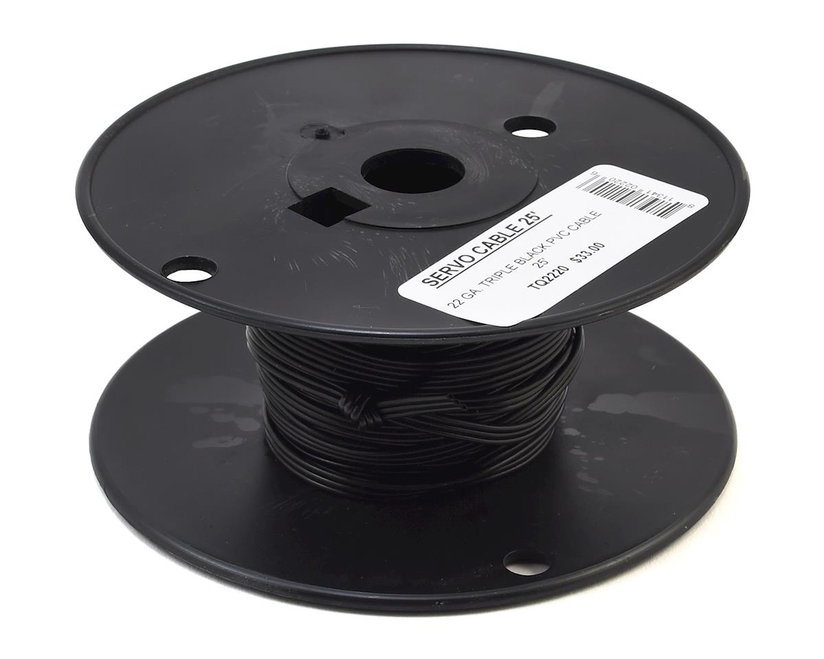 TQ Wire 22awg Triple Black Servo Wire Spool (Black) (25ft / 7.6m)