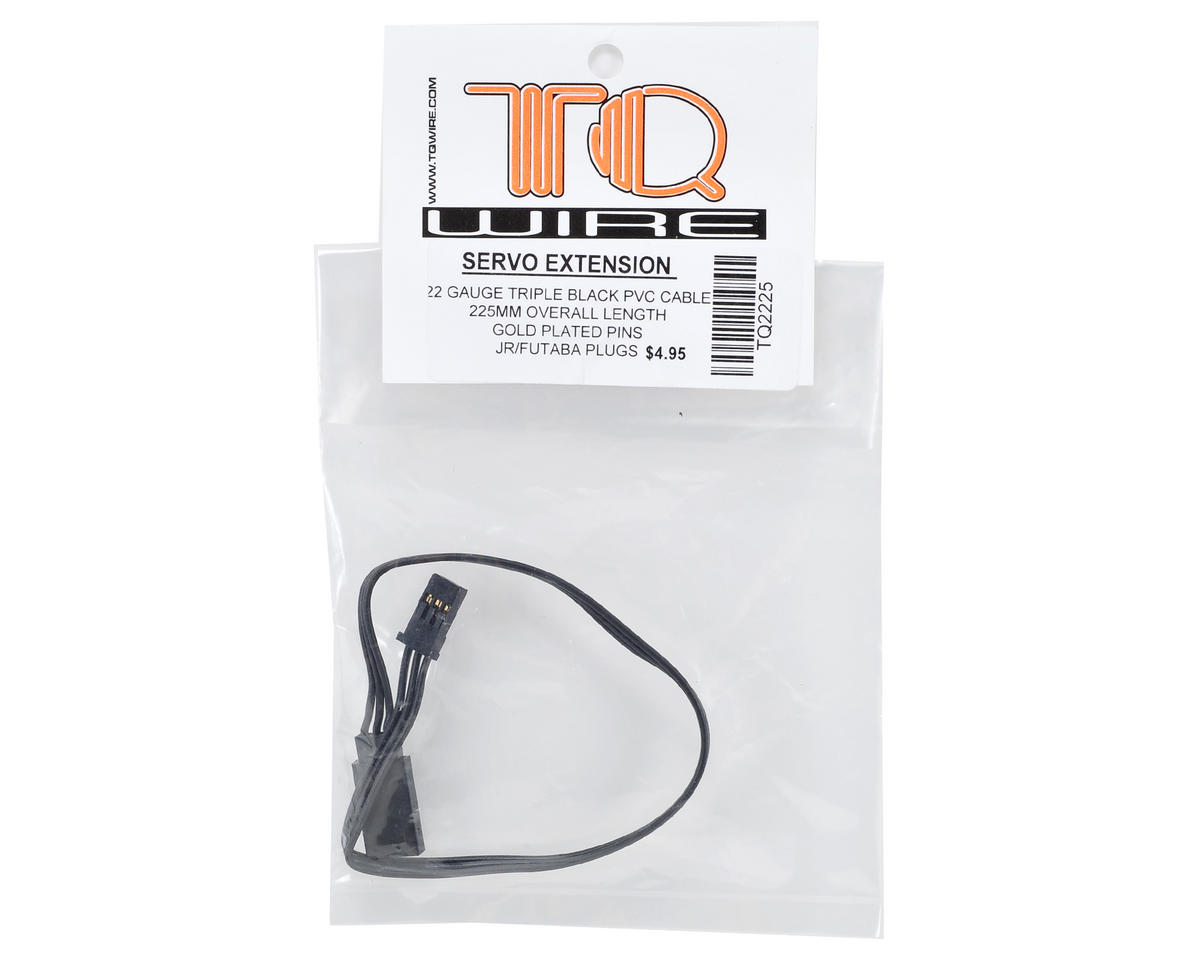 TQ Wire Tripple Black JR/Futaba Servo Extension (225mm)
