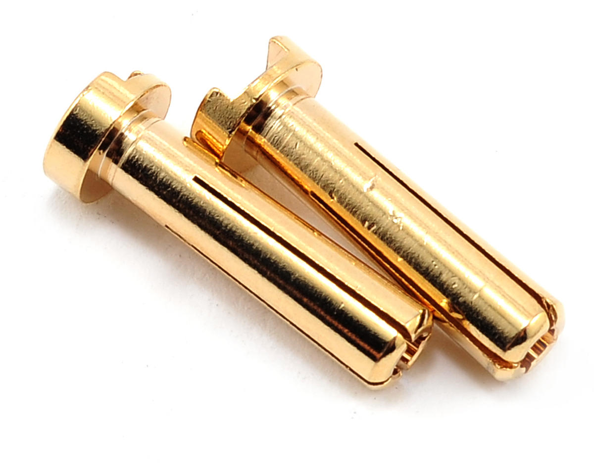 4mm Low Profile Male Bullet Connectors (Gold) (18mm) (2) by TQ Wire