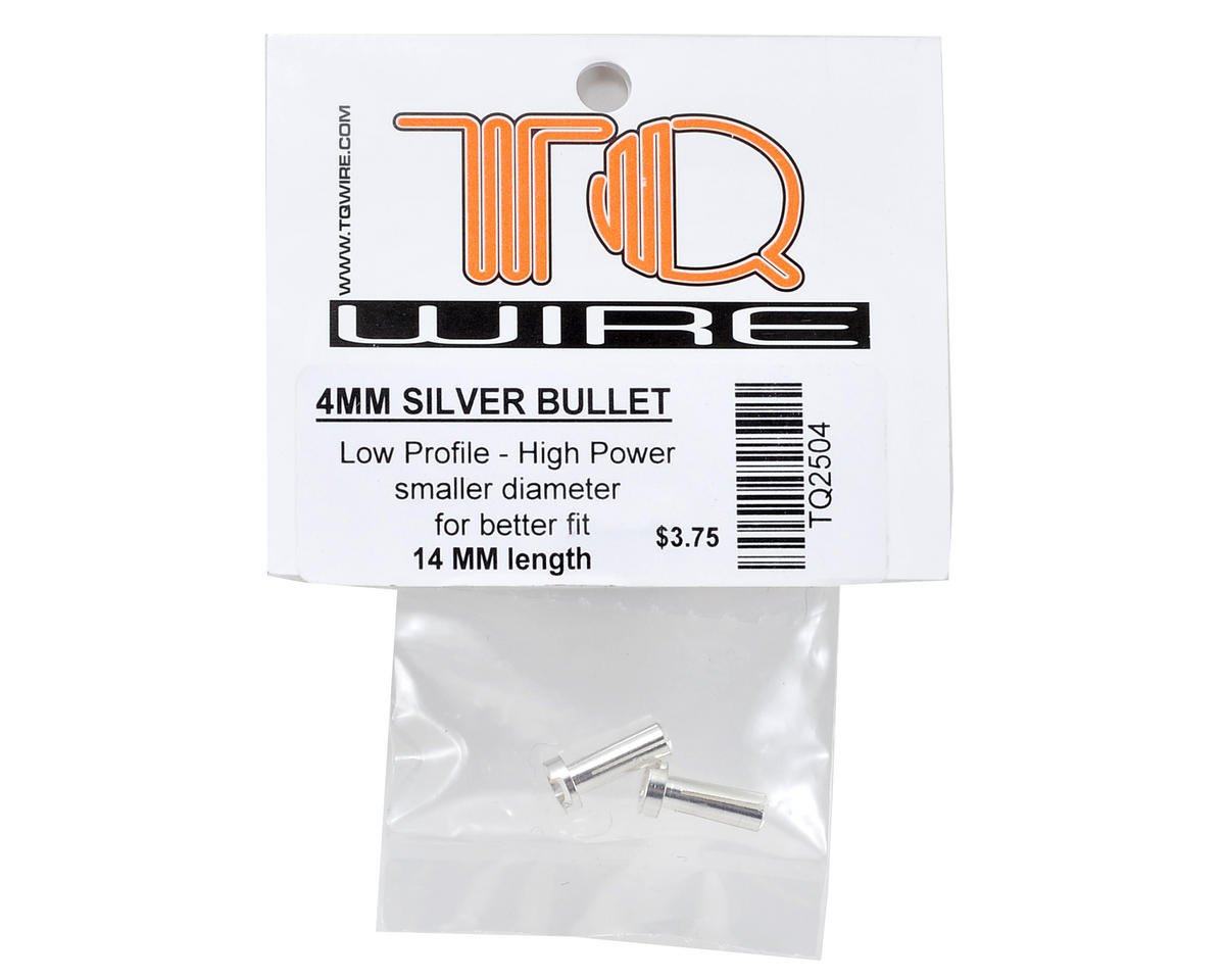 TQ Wire 4mm Low Profile Male Bullet Connectors (Silver) (14mm) (2)